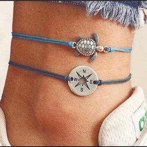 2 PC Anklet Set - Compass & Turtle Sea Blue 🐢